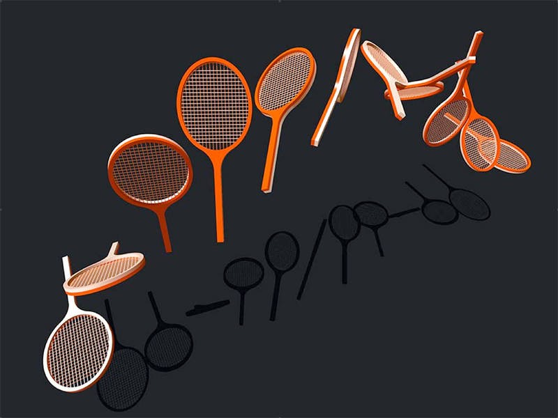 Snap shots of the rotation of a tennis racket in flight. While the racket rotate