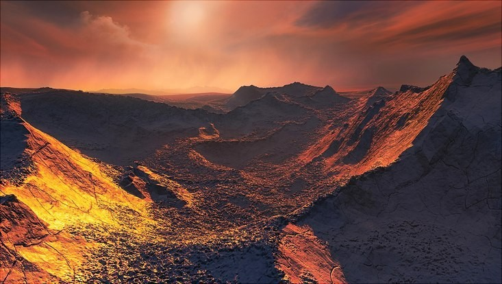 Photo: ESO/Martin Kornmesser  Artistic illustration of a sunset on Barnard&rsquo