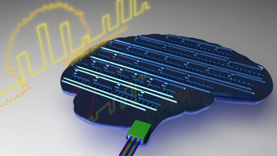 Schematic illustration of a light-based, brain-inspired chip. By mimicking biolo