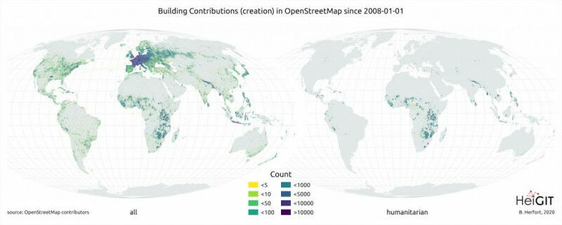 Left: Spatial distribution of all buildings added to OpenStreetMap since 2008; r