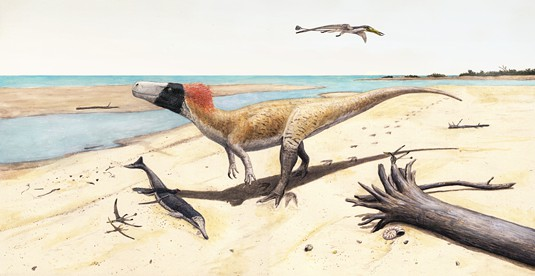 Artist's impression of W. albati. The dinosaur is shown together with othe