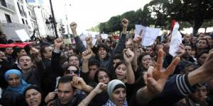 During the Arab Spring, thousands of Tunisian demonstrators take to the streets